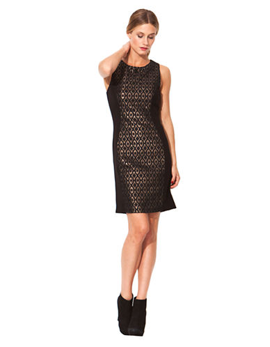 LAUNDRY BY SHELLI SEGALMetallic Jacquard and Ponte Knit Dress