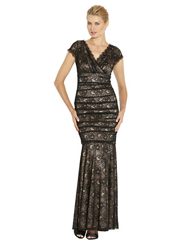 LAUNDRY BY SHELLI SEGAL Banded Lace V Back Gown