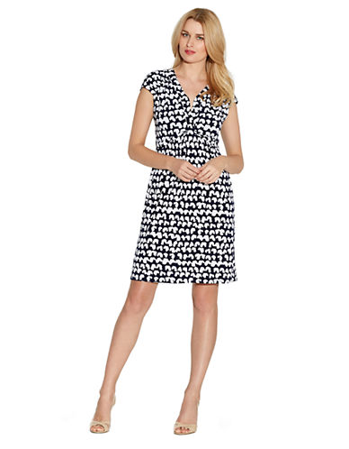 LAUNDRY BY SHELLI SEGAL Abstract Print Matte Jersey Cap Sleeve Dress