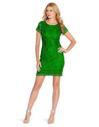 LAUNDRY BY SHELLI SEGAL Lace Cap Sleeve Dress