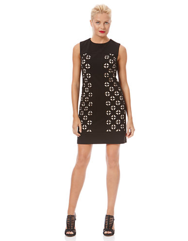 LAUNDRY BY SHELLI SEGALLaser-Cut Ponte Shift Dress