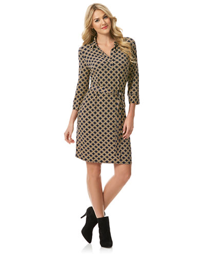 LAUNDRY BY SHELLI SEGAL Jersey Geo Print Belted Dress
