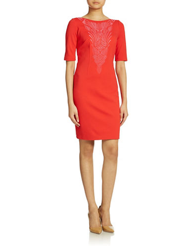 Shop Laundry By Shelli Segal online and buy Laundry By Shelli Segal Embroidered Sheath Dress dress online