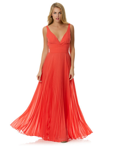 Shop Laundry By Shelli Segal online and buy Laundry By Shelli Segal Pleated Open-Back Gown dress online