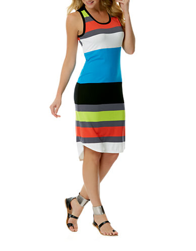 Shop Laundry By Shelli Segal online and buy Laundry By Shelli Segal Block Striped Hi-Lo Dress dress online