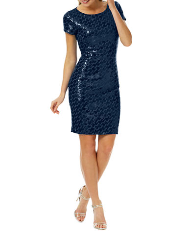Laundry By Shelli Segal Sequined Geo Sheath Dress