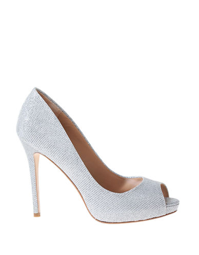 Shop Badgley Mischka online and buy Badgley Mischka Ponderosa Metallic Peep-Toe Pumps shoes online