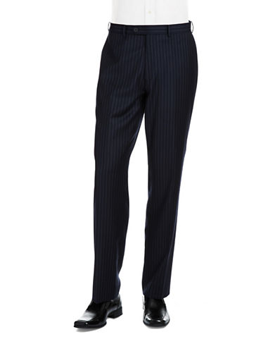 BLACK BROWN 1826 Striped Wool Flat Front Pants