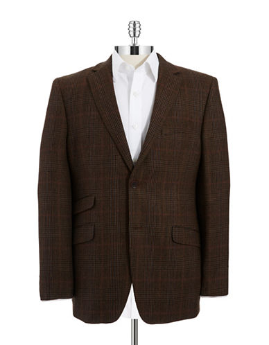 BLACK BROWN 1826 Slim Fit Plaid Blazer