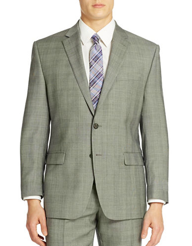 LAUREN RALPH LAUREN Grid Patterned Wool Suit Jacket