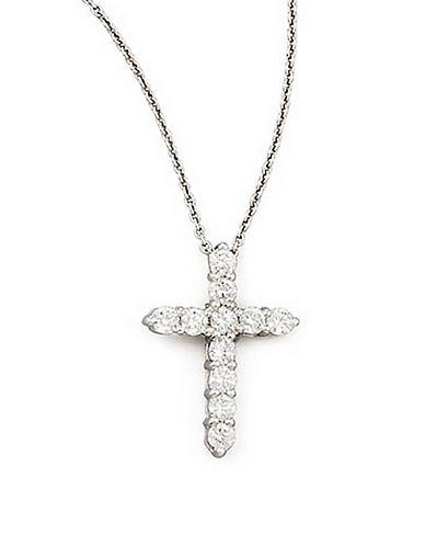 ROBERTO COINDiamond and 18K White Gold Cross Pendant Necklace
