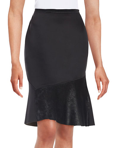Leather-Panelled Skirt plus size,  plus size fashion plus size appare
