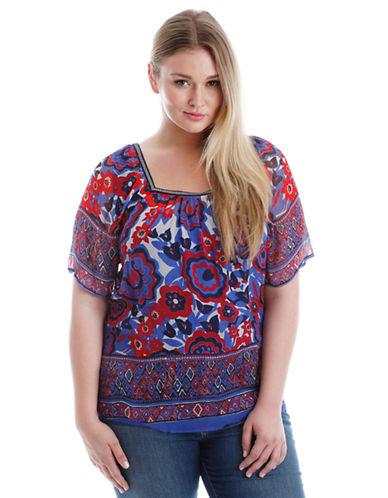 LUCKY BRAND PLUSPlus Floral Print Short-Sleeve Blouse