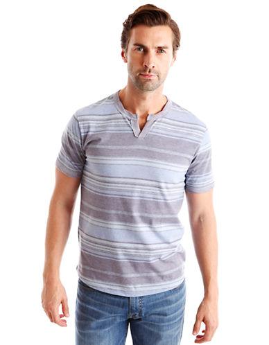 LUCKY BRANDSublimation Stripe Notch Neck T-Shirt