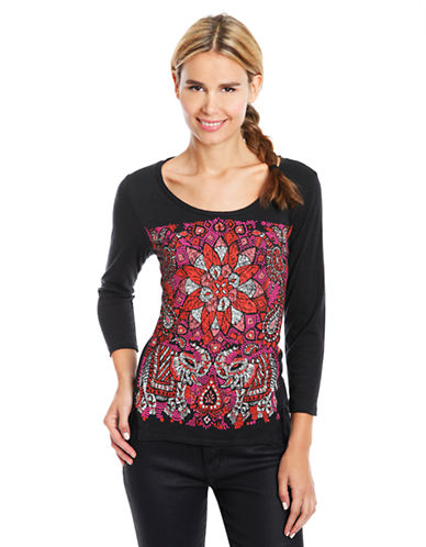 LUCKY BRANDFloral Embroidered Top