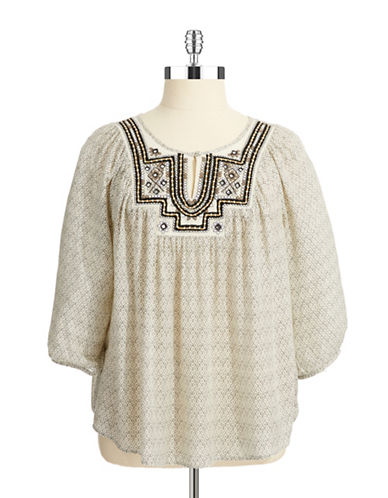 LUCKY BRAND PLUSPlus Embroidered Peasant Top