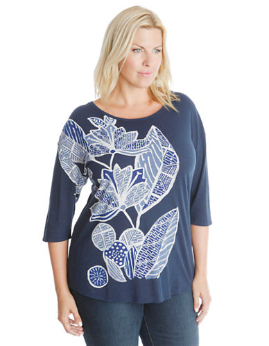 LUCKY BRAND PLUSPlus Lily Floral Tee