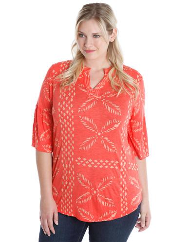 Lucky Brand Plus Plus Slub Leaf Graphic T-Shirt