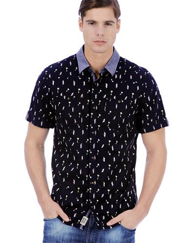 BUFFALO DAVID BITTONModern Fit Sitoil Palm Tree Print Sport Shirt
