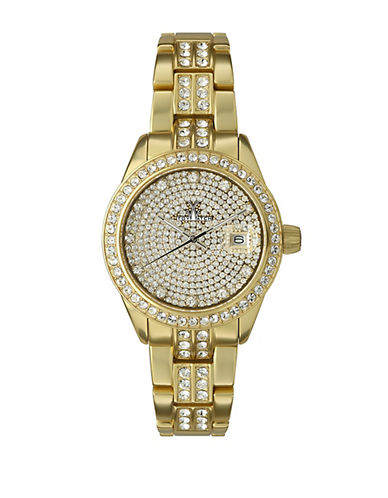 TOYWATCHLadies Metallic Gold Tone and Crystal Watch