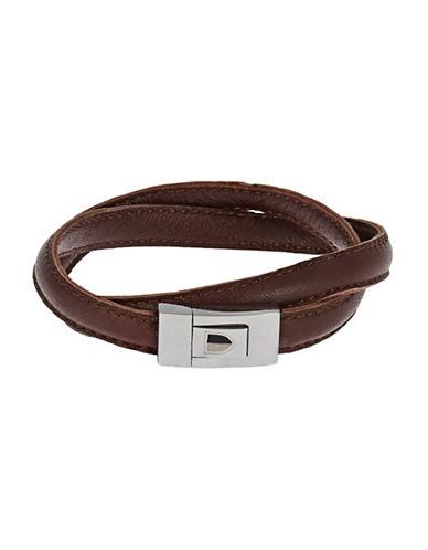 BLACK BROWN 1826Double Wrap Bracelet With Square Clasp