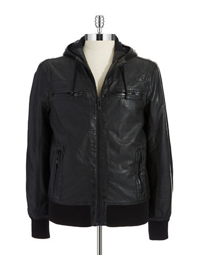 ROGUE STATEFaux Leather Hooded Jacket
