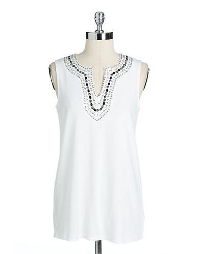 RAFAELLA PETITESPetite Embellished Sleeveless Cotton Tunic