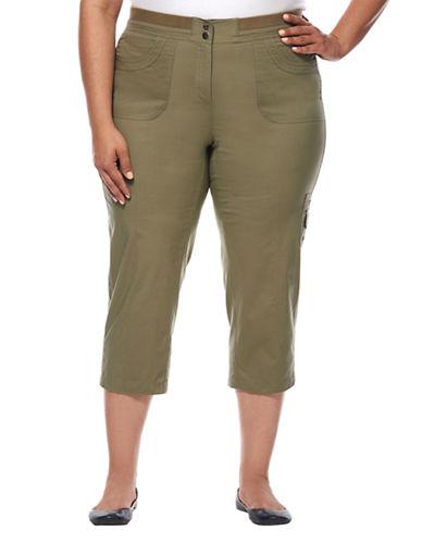 Rafaella Plus Plus Poplin Cargo Capri Pants