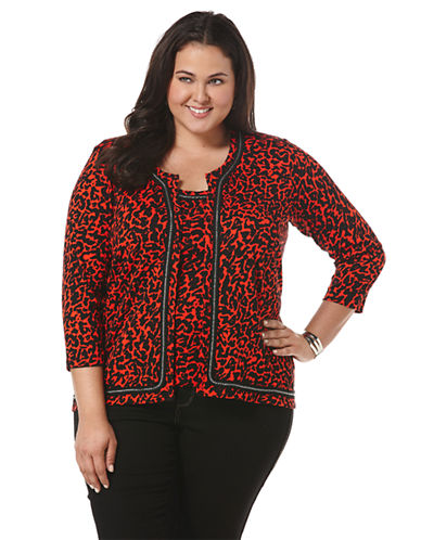 Rafaella Plus Plus You Animal Print Cardigan