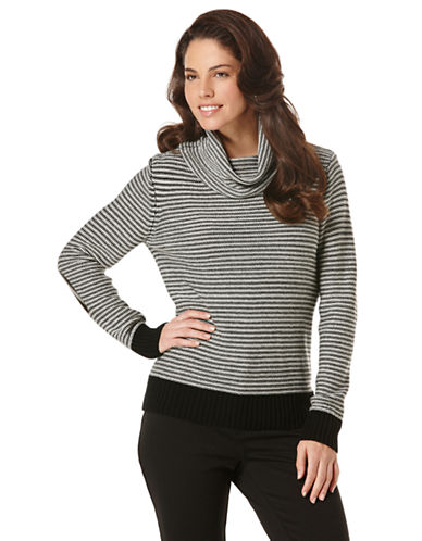 RAFAELLA Stripe Cowlneck Sweater