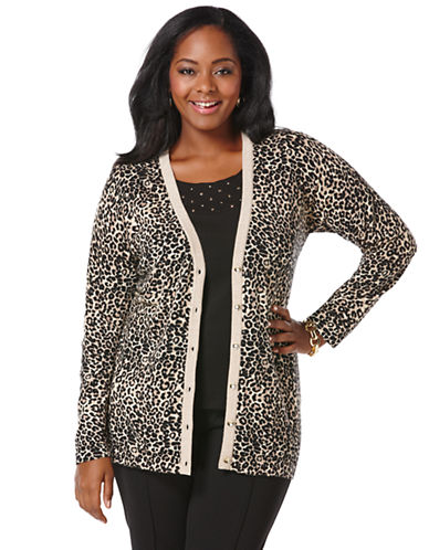 Rafaella Plus Plus Distinguished Animal Print Cardigan