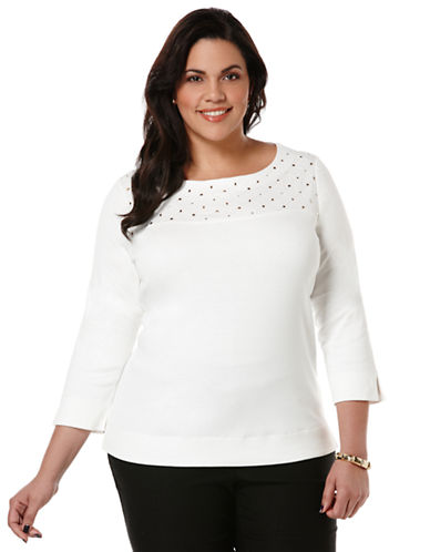 Rafaella Plus Plus Embellished Quilted Yoke Top