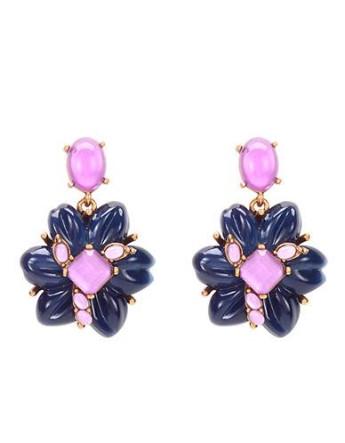 OSCAR DE LA RENTANavy and Purple Flower Drop Earrings