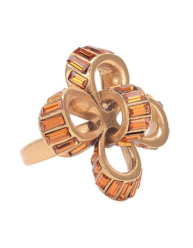 OSCAR DE LA RENTAGold Tone and Swarovski Crystal Bow Ring