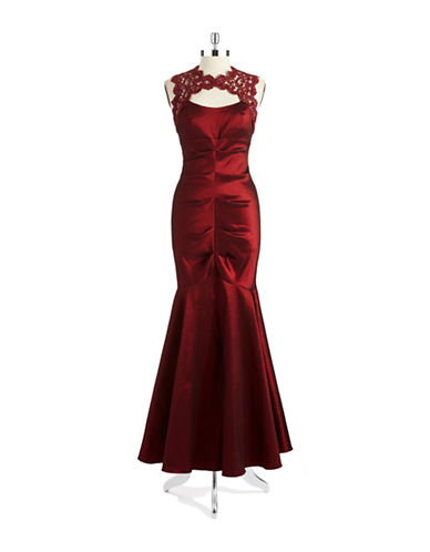 Shop Xscape online and buy Xscape Ruched Taffeta and Lace Mermaid Gown dress online