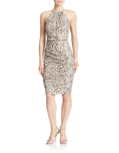 Xscape Animal Print Sequined Sheath Dress
