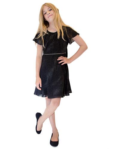 US ANGELSGirls 7-16 Flutter Sleeve Lace Back Dress