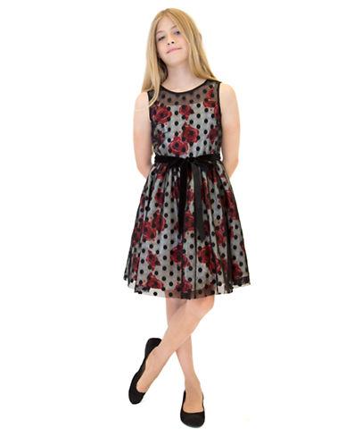 US ANGELSGirls 7-16 Floral Chiffon Illusion Dress with Belt