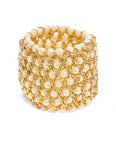 KENNETH JAY LANEFaux Pearl Chain Cuff Bracelet