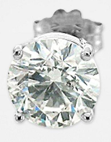 18 Kt. White Gold 1-Carat Round Diamond Stud Earrings