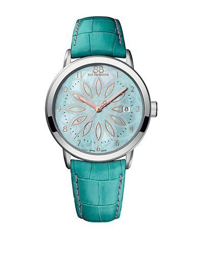 88 RUE DU RHONELadies Stainless Steel and Pearlized Blue Watch with Leather Strap
