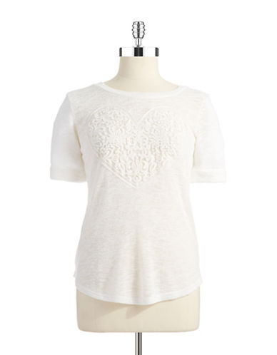 TI AND LOHeart Embroidered Top