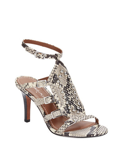 Shop Donald J. Pliner online and buy Donald J. Pliner Snake-Embossed Leather Cage Sandals shoes online