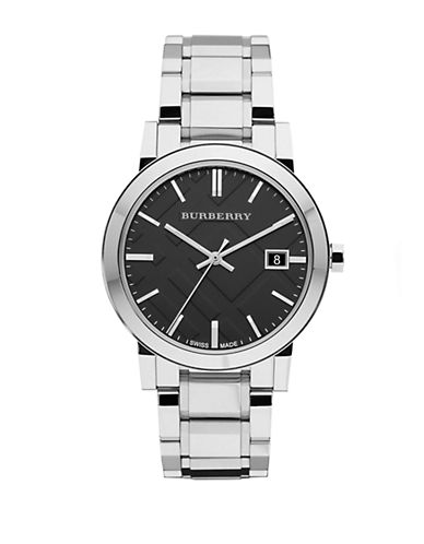 BURBERRYMens Stainless Steel Watch with Black Dial