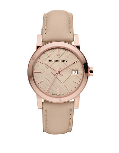 BURBERRYLadies Rose Gold Watch with Tan Leather Strap