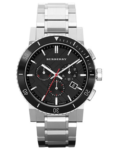 BURBERRY Mens Stainless Steel Chronograph Watch with Black Dial