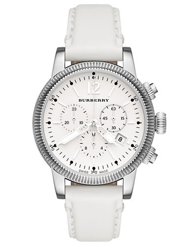BURBERRYLadies Silver-Tone and Leather Watch