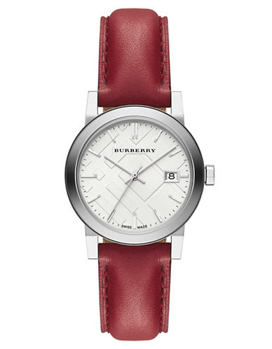 Burberry Ladies City Silver-Tone and Leather Watch