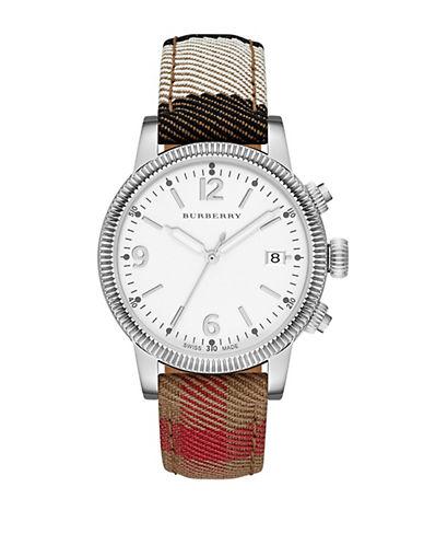 BURBERRYMens Utilitarian Silver-Tone House Check Watch