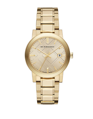 BURBERRYLadies Gold-Tone Watch with Hydraulic Stamp Dial